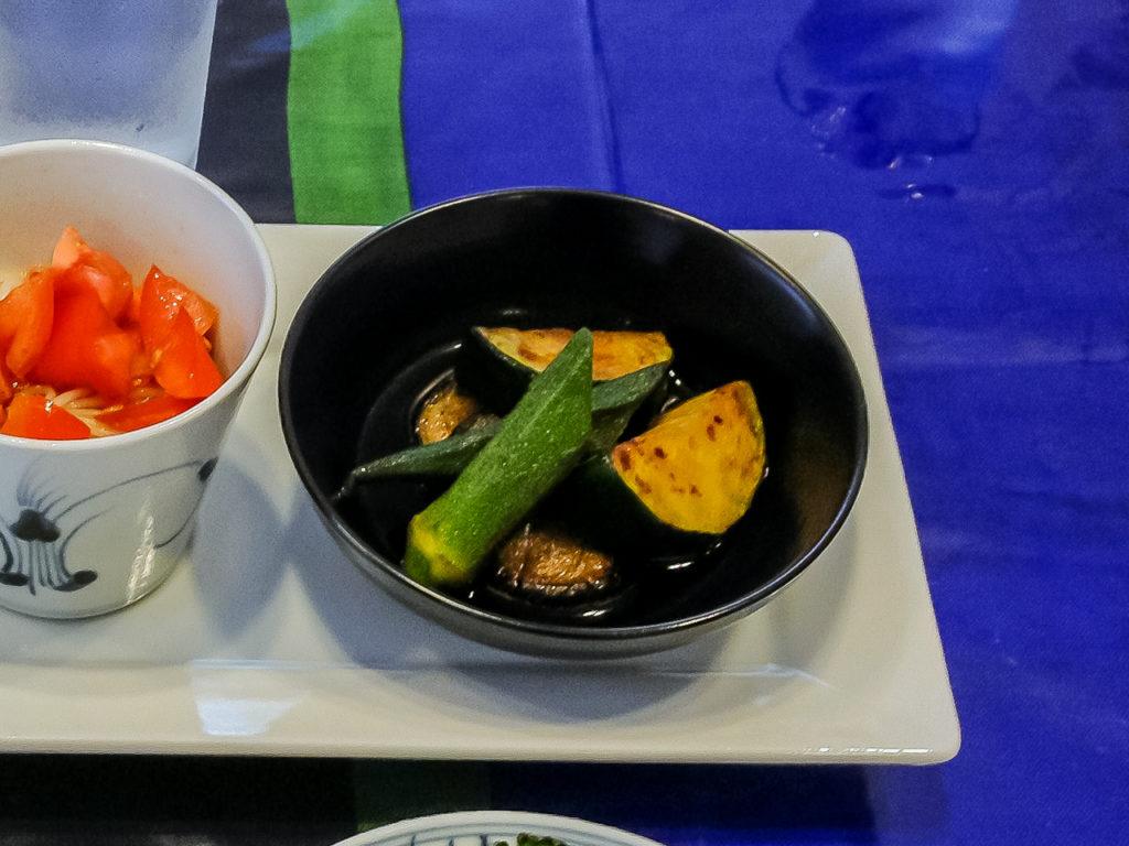 夏バテ予防によい食材と簡単レシピの晩ご飯編の紹介「ナスとオクラとズッキーニの焼き浸し」